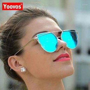 Yoovos 2020 spiegel vintage cateye sonnenbrille frauen metall reflektierende gläser party marke designer lunette de soleil femme uv4001