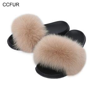 CCFUR Donne Pantofole Pantofole Furry Ladies Carino Real Fox Pelliccia Pelliccia dei capelli Fluffy Slifts Donne Genuine Slider Genuider Indoor S6043B T200411