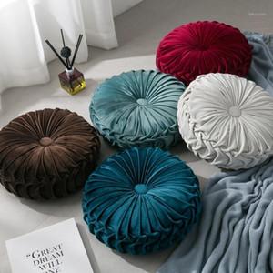 Velvet Pieghettato rotondo Through Throw Pillow Couch Cuscino Piano Piano Decorativo per la sedia domestica Letto Car1