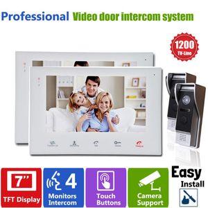 Video Door Phones Homefong 7 Inch Colorful LCD Screen Doorbell Phone Home Security Camera Monitor Intercom System 2V2 Slim Design