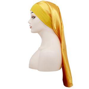 Lange Hüte Seiden-Satin-Haar-Motorhauben-Kopf-Wrap-montierte Durag-Pferdeschwanz-Elastizitätsmütze-DROOP-Mode-Beanie Turban-Frauen-Dame 5 68DC C2