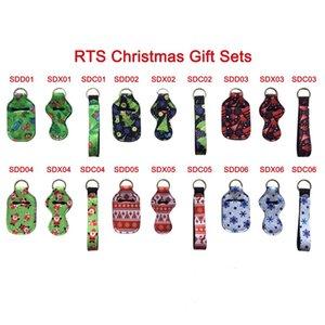 RTS Christmas Gift Sets Hand Sanitizer Halter + Wristlet + Chapstick Halter Tragbare Neopren-Abdeckung mit Keychain Aufbewahrungstasche OA8
