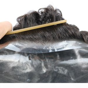 0.06- 0.08 mm Skin Men's Toupee Real Natural Human Hair 8*10 Inch Men Toupee For Men Hairpiece Mens Wig Replacement Hairpieces