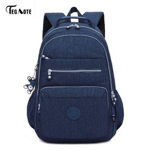 Gençler için Tegaote Marka Laptop Sırt Çantası Kadınlar Seyahat Çantaları Fonksiyonlu Sırt Çantası Su geçirmez Naylon Okul sırt çantaları
