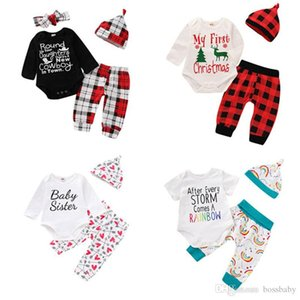 Baby Kids Christmas Set Letter Printed Long Sleeve Tops Plaid Pants With Hat Sets Kids Casual Clothes Girls Baby Boy Clothing Sets 07