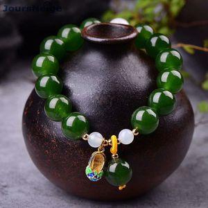 Vente en gros JOURSNEIGE JOURSNEIGE Vert Crystal Bracelets 12mm Perles avec Chaussures Cloisonne Bracelet Pendentif Bracelet Lucky for Women Bijoux Y1218