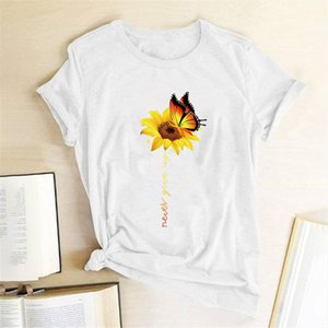 Aesthetic Womens T Tees Women Harajuku Cotton Shirt Graphic T Flower White Butterfly Shirt Sun Femme Never Give Up Tshirt Iecqd