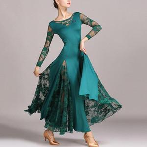 Stage Wear IEFiEL Women Ladies Tango Long Sleeve Lace Splice Waltz Ballroom Modern Dance Costumes Swing Dress Prom