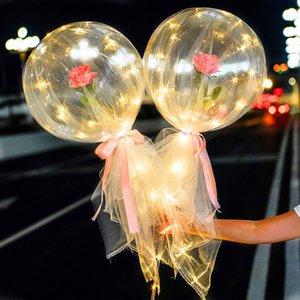 Colorido globo luminoso ramo ramo de rosa transparente bobo bola rosa regalo día de San Valentín fiesta de cumpleaños decoración de boda globos vtky2193
