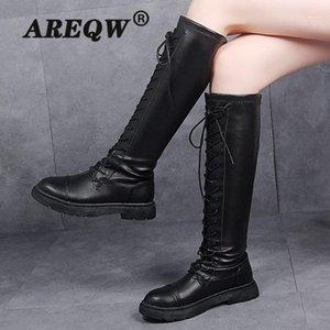 Areqw mujeres botas de combate antuplomo 2020 hembra zapatos góticos femeninos botas de cuero negro cordón para mujer rodilla alto1