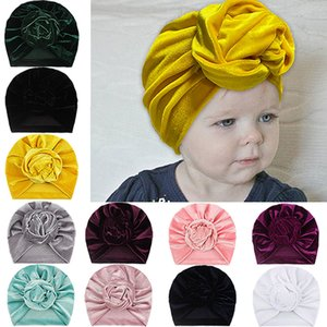 New Knot Rose Flower Kids Hedging Hat Newborn Infant Toddler Caps Turban Baby Girls Beanie Velvet Hats Hair Accessories