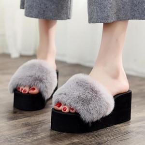7CM High Heel Women Autumn Outdoor Sandals Female Solid Color Non-Slip Plush Slipper Indoor Cotton Shoes Women Winter Flip Flop