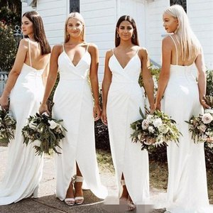 Cheap Chiffon Bridesmaid Dresses Spaghetti Straps Ruched Front Split Sweep Train Covered Buttons Back Maid of Honor Gown Wedding Guest Dress