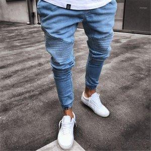 2021 Men's Sulty's Sulty Skinny Biker Jeans Pantalons élastiques Hommes Hommes Pure Couleur Jogger Pantalon S-4XL1