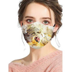 Designer Mask Breathable Fashion Cotton Dustproof Mask Personality Cat Wolf Pattern Printing Cotton Adult Christmas Face Mask DHA2304