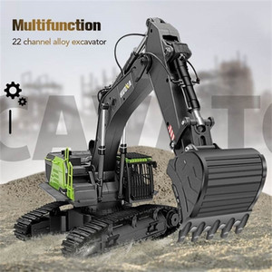 Huina 593 1:14 RC Excavator 22CH Rotation Alloy Green RC Remote Control Truck Toys Screw Drive Double Track Engineering Vehicle 201223