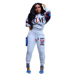 Женский дизайнер трексуиты с длинным рукавом на панелях печать 2 шт. Длинные брюки одежда наборы спортивные женщины две части штанов