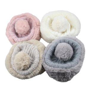 Womens Winter One Size Warm Faux Fur Knitting Bobble Beanie Slouchy Hats Pom Pom Ball Cossack Russian Fashion Plush Ski Cap