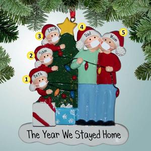 DHL Shipping Resin Christmas Tree Ornament 2020 Xmas Hanging Ornaments Santa Claus Family Christmas Pendant Party Decorations HWD2442