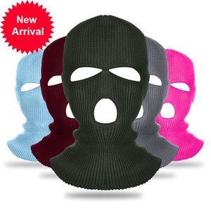 2 Hole Army Tactical Bandana Neck Warmer Knitted Winter Hat Motorcycle Hood Helmet 3 Holes Full Face Cover Balaclava Ski Mask Y7U6