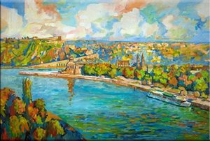 A. Baecker - Koblenz expressionistisch Home Decor Handpainted &HD Print Oil Paintings On Canvas Wall Art Pictures 191230