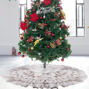Christmas Tree Skirt 48 50inch Xmas Tree Ornaments Ruffled Trim-Style Cotton Christmas Decor for Festival Party Supplies