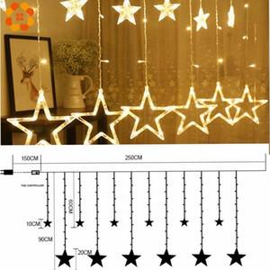 1Set 3 Styles Ramadan Star&Moon AC 220V LED Garland Curtain String Lights EID Mubarak Decoration Wedding Birthday Party Supplies 201204