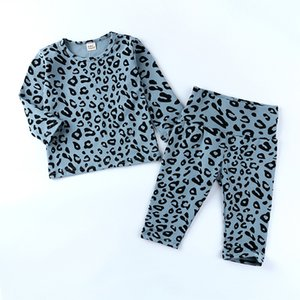 Facefous Fahsion Casual Kleinkind Kinder Baby Mädchen Kleidung Langarm Tops Leoparden Gedruckt Hosen Pyjamas Sleepwear Outfits Set LJ201016