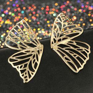 2020 Dropshipping Hot Sale Hollow Big Butterfly Stud Earring for Women Metal Angel Wing Earrings Statement Bridal Wedding Jewelry