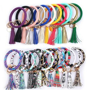 luxury- 46styles Leather Bracelet Key Chain Leopard Bufflao Plaid PU Round Key Ring Tassel Pendant Wristband Keychain Bracelets LJJA3022