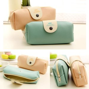 PU Leather Pencil Pen Case Cosmetic Makeup Coin Pouch Zipper Bag Purse Travel Make-up Brush Handbag