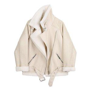 Fitaylor Winter Women Sheepskin Jackets Fur Collar Zipper Parka Warm Thick Outerwear Faux Lamb Leather Jacket Oversized Coat