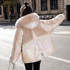 Women Winter Coat Lamb Hair Short Down Jacket Female Loose Fur collar Patchwork Glossy Cotton Outwear Womens Oversized Coats