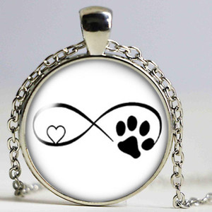 Love Cat pet footprints dogs glass cabochon necklace Bag CarHolder Charms silver plate necklacefor Men Women