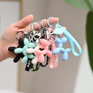 Karikatür Balon Köpek Anahtarlık Renkli Yumuşak Kauçuk PVC Güzel Köpek Anahtarlıklar Kadınlar Için Anahtarlık Araba Anahtarlık Çantası Telefon Kolye Takı