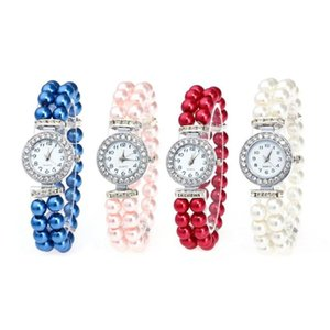 Pearl String Watch Fashion Rhinestone Round Strap Quartz Wrist Watches Casual Alloy Buckle Jewelry Gifts for Women Girls