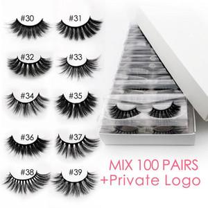 Wholesale 3d mink false eyelashes 20 30 40 50 100 pairs fluffy wispy fake lashes natural long makeup eyelash extension in bulk