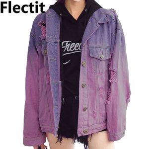 Flectit Harajuku Street Style Ombre Wash Oversized Frayed Denim Jacket For Women Faded Purple Jeans Jacket Grunge veste femme 201022