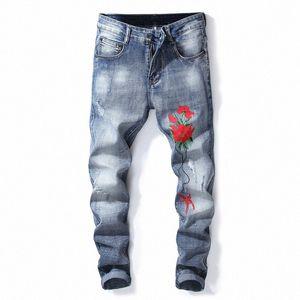 Blumendruck dünne gewaschene Jeans Herren Kleidung Mode Ripped Biker Bleistift-Hosen-Mann-Blau-lange Hose-Hosen-Jeans L56w #