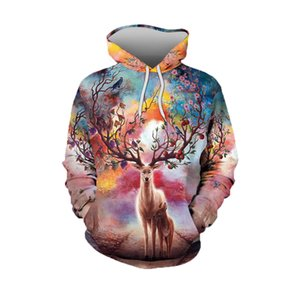 Spring and Autumn Europe and America 2020 new couples sika deer 3d digital printing loose pullover hooded sweater