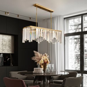 Postmodern Crystal Chandelier Golden Copper Lamp Body Light Luxury Living room Bar Counter Dining room Chandelier