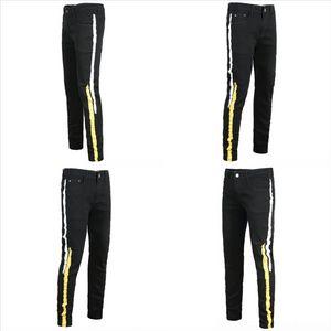 WDSD Stretch Design Black Rip Cowboy Patch Denim Biker Jeans für Herren Slim Fit Trim Herren Malerbein Jeans