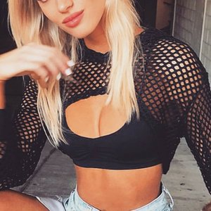 Women's Long Sleeve See-through Sheer Mesh Crop Buckle Summer Top Cover Ups Sexy Hooded Ladies Hollow Out Pullovers Tops