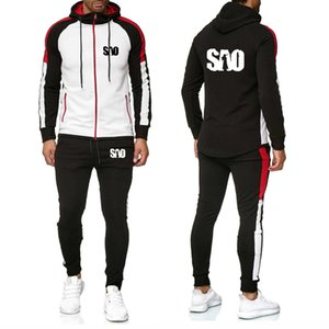 Men's suits SAO Sword Art Online Printed splice Hoodies Men Casual Sweatshirt Fashion Men Jacket Hoodies+Pants Suit 2Pcs