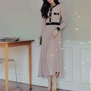 ZAWFL NUEVO fajas vestido de punto elegante O-cuello de la mujer del otoño de manga larga vestido plisado de un solo pecho suéter largo 2020 C1024