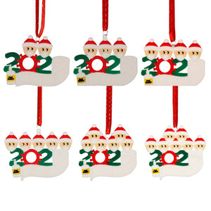 2020 Christmas Quarantine Ornaments Customized Gift Survivor Family of 2-7 Hang Decoration Snowman Pendant With Face Mask Hand Sanitizer DHL