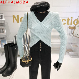 Alphalmoda 2021 primavera inverno nuovo crosc-cross design maglione con scollo a V contorto dolce solido jumper sottile donne tendenza tendenza a maglia