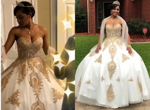 Charming Gold Embellished Wedding Dresses Bridal Gown 2021 African Designer Sweetheart Organza Lace Applique Corset Wedding Reception dress