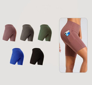 2020 Fashion Style Four European and American Fitness 5 Minutes Exercise Lift Buttock Quick Dry Running High Waist Pocket Yoga Shorts
