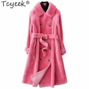 Tcyeek Natural Real Шуба Зимняя куртка для женщин Одежда 2020 Корейский Толстые Теплый Длинные Женские меховые пальто замша Подкладка LW1406